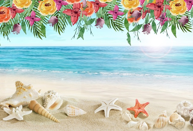 38887a93e6 Laeacco Tropical Sea Beach Starfish Shell Sand Flower Pattern Party Photo  Backgrounds Photography Backdrops For Studio Shoot