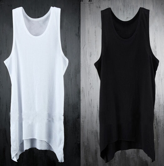 Irregular Extended Tank Top Men s Fashion Summer Casual Gym Singlets Black White  Sleeveless T shirt Cool Fitness Colete Academia-in Tank Tops from Men s ... f72093c1e