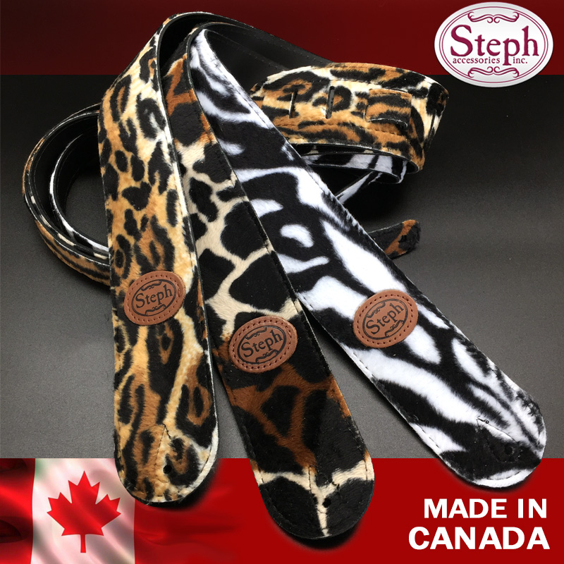 Steph B190 Fake Fur Top Split Leather Back Guitar or Bass Guitar Strap, Leoparg, Giraffe, Zebra, Animal Style, Made in Canada