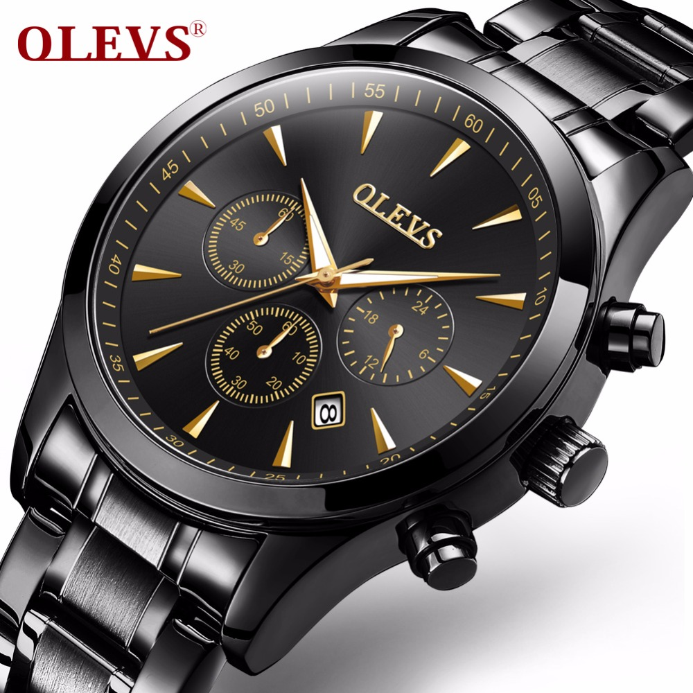 OLEVS Big Face Men Quartz Watches Male Clock with Calendar Waterproof Chronograph Watch Bracelet Strap Date Business Wristwatch