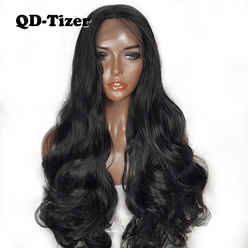 180 Density Long Body Wavy Black Wigs with Baby Hair Heat Resistant Fiber Hair Synthetic Lace