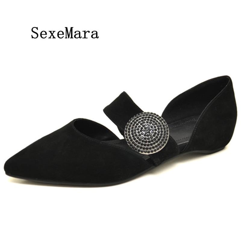 ФОТО SEXEMARA Shallow Mary Jane Shoes Pointed Toe Flats Casual Shoes 2017 New Woman Girl Fashion Summer  Genuine Leather Women Flats