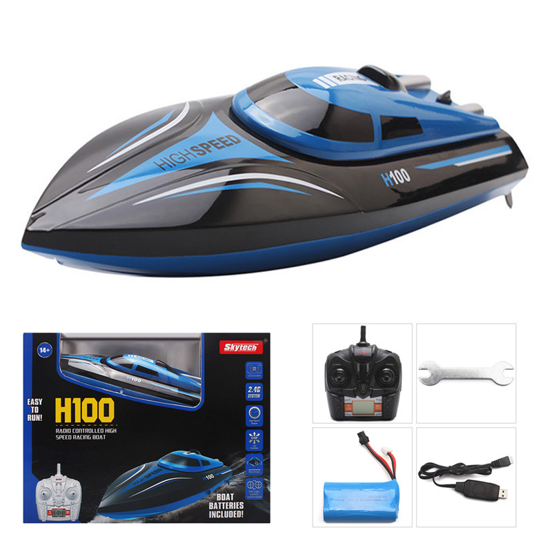 Skytech H100 Catamaran Radio RC Racing Boat 2.4GHz 4CH High Speed RC boat for fishing ship bait boat with LCD For Gifts free shipping factory price catamaran hull jabo 5a long distance two hoppers rc bait boat for releasing hook