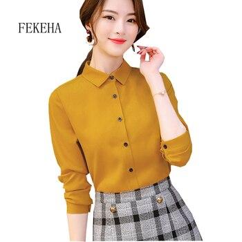 7d984e33b FEKEHA blanco Blusa gasa de las mujeres Oficina carrera camisas Tops 2019  otoño moda Casual blusas manga larga Mujer Blusa