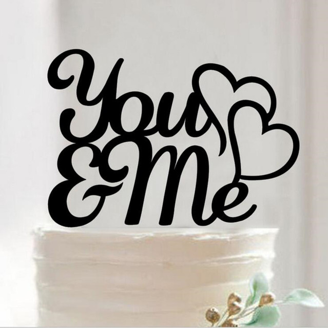 You And Me Letter Wedding Cake Topper Silhouette Cake Decorating