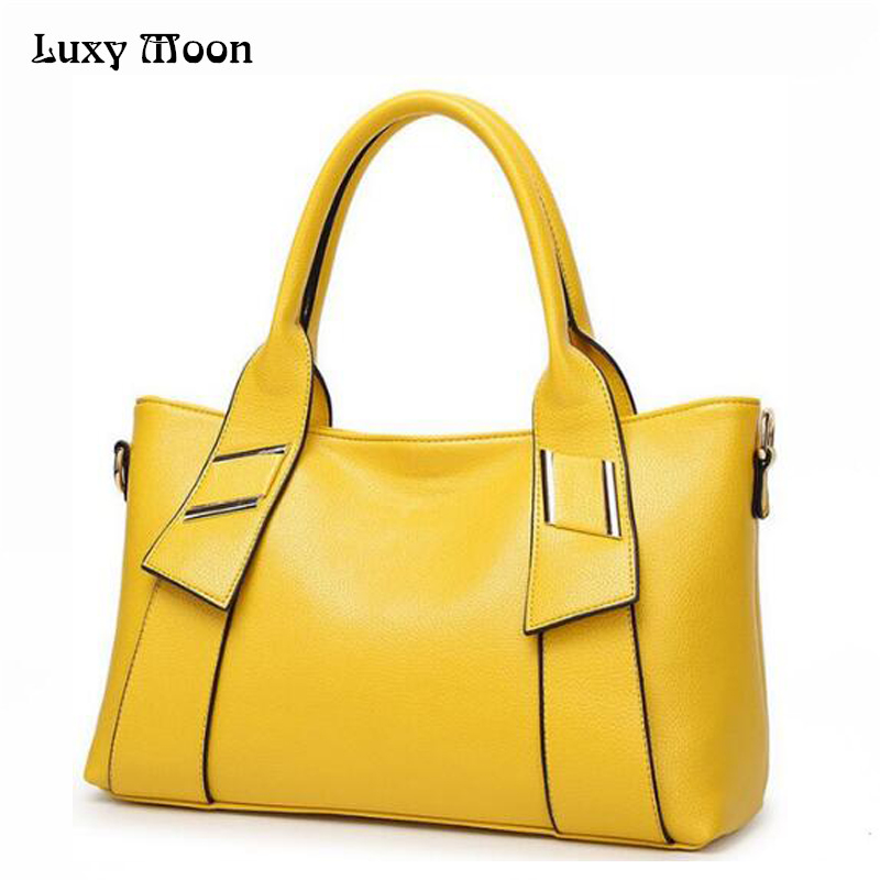 2018 Women Leather <font><b>Handbags</b></font> Famous Brand Women Shoulder Bags Big women messenger bag Bolsos Mujer Black Red <font><b>Yellow</b></font> Blue W805