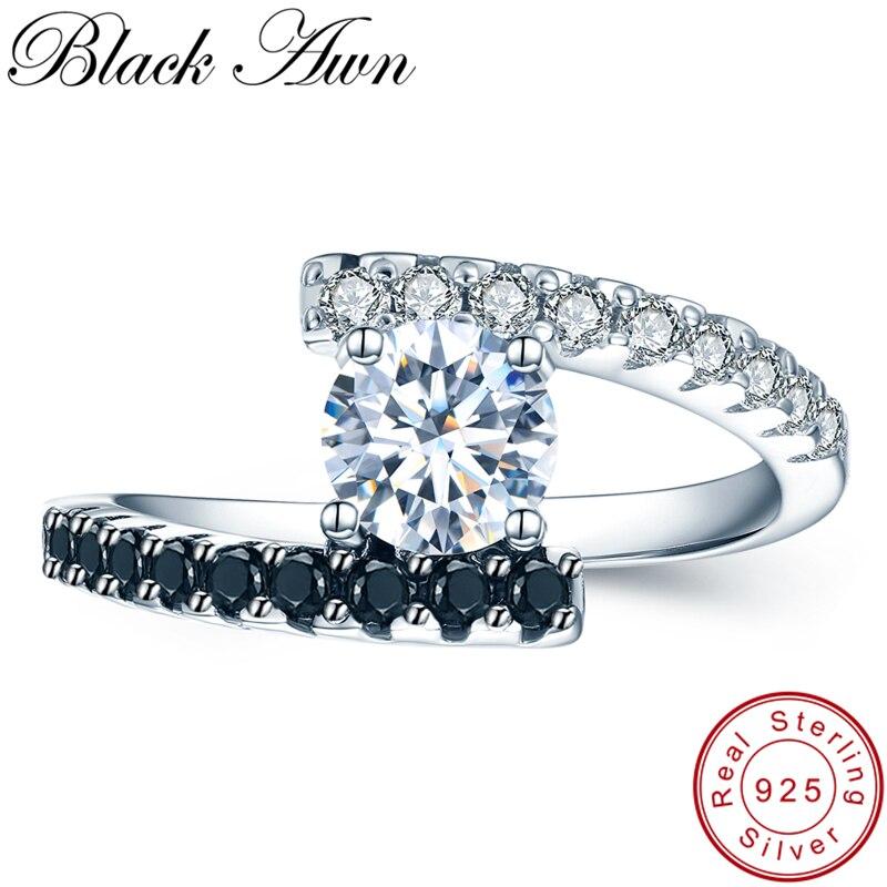 [Negro AWN] Vintage 2,9G 925 anillos de plata esterlina de joyería fina negro espinela anillos de boda para las mujeres Femme bijoux Bague C011