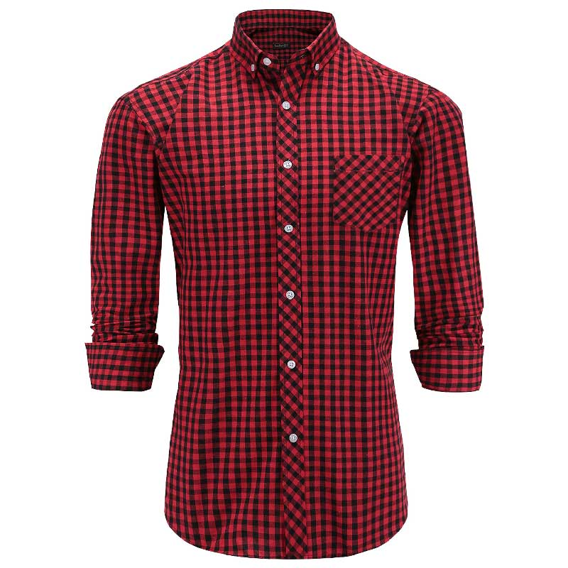JeeToo Plaid Button Shirts Men Cotton Turn-down Collar Long Sleeve Formal Shirt Pocket Casual Slim Fit Mens Shirts Big Size 3XL