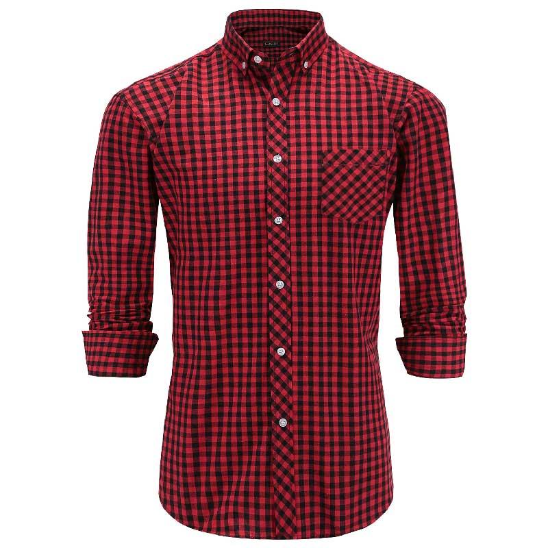 JeeToo Plaid Button Shirts Men Cotton Turn-down Collar Long Sleeve Formal Shirt Pocket Casual Slim Fit Mens Shirts Big Size 3XL