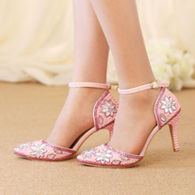 Pointed Toe Crystal Middle Heel Sandals with Ankle Straps Pink Pearl Wedding Party Shoes Adult Ceremony Pumps Bridal Dress Shoes