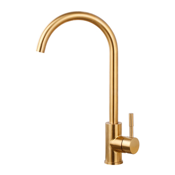 Brushed Gold Kitchen Faucet 360 Rotatable Water Mixer Basin Sink stainless steelTaps Single Handle Deck Mounted Aerator Tap BG01