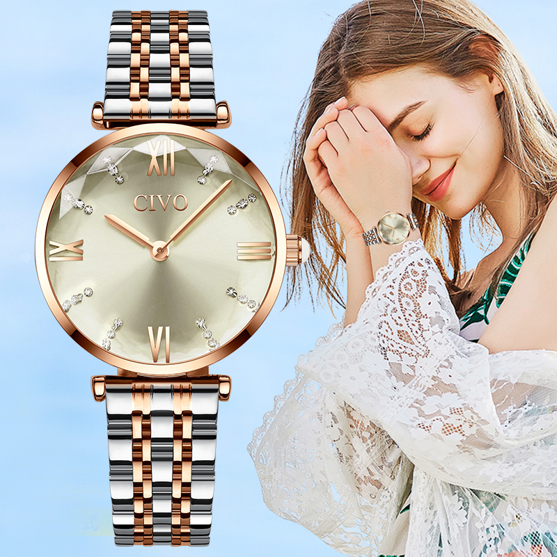 CIVO Women Watches Luxury Waterproof Wrist Watches Top Brand Steel Strap Crystal Quartz Wirst Watch For Women Clock Reloj Mujer