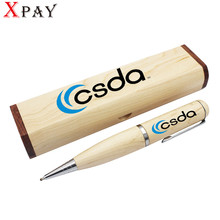 XPAY 5pcs free Color printing logo wood Ballpoint pen with wooden box flash drive pendrive 4GB 8GB 16GB 32GB memory card U disk