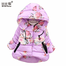 Fashion girls clothes Kids Hoodies Winter roses Outerwear toddle girl clothes children Parka overcoat outfits snowsuit padded