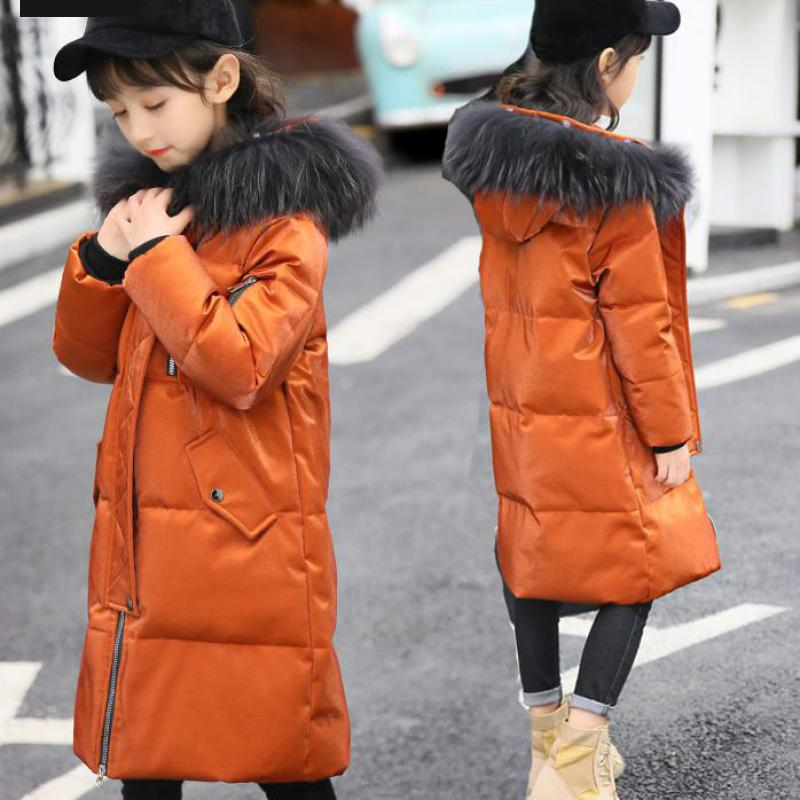 2018 Girls Winter Duck Down Coat Parka Long Cotton Hooded Fur Collar Children Winter Jacket Kids Thick Warm Girls -30 Degree girls winter coat 30 degree snow wear children parka coat hooded fur collar velvet clothes kids thick warm jackets for girls