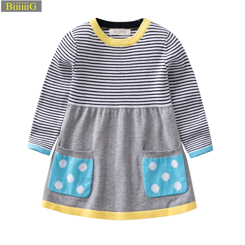 Spring Autumn Girls Knit Dress Exquisite Clipping Parties Princess Dress 18 Fashion Baby Girl Clothes for Kids Clothing Toddler