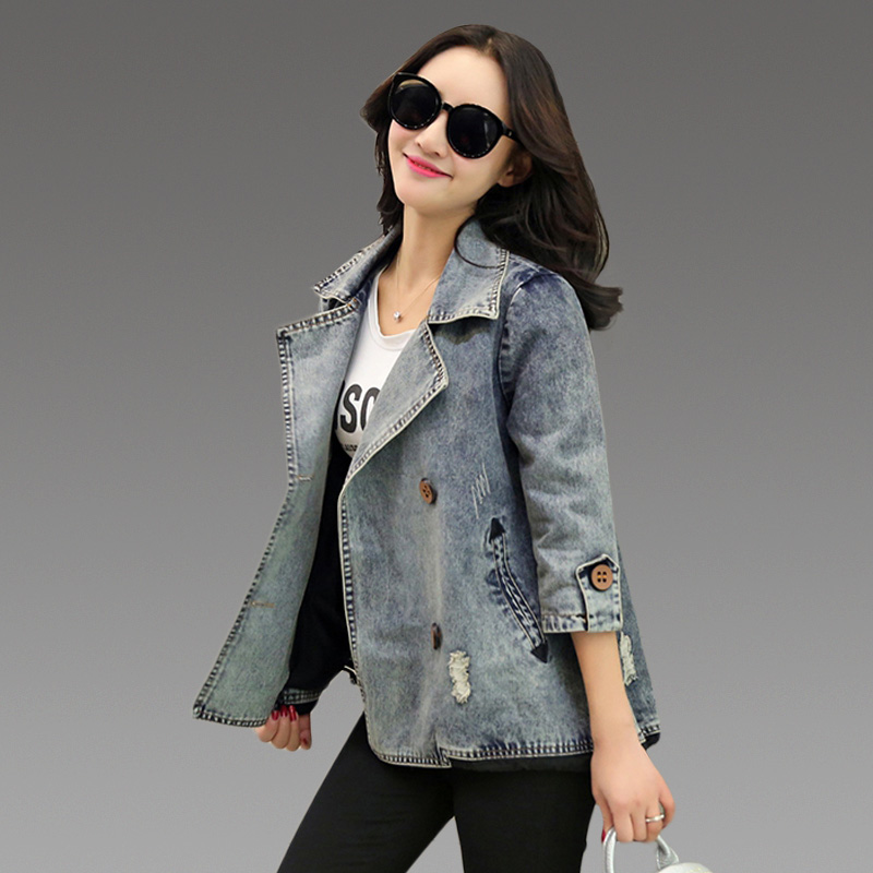 2017 Fashion Spring   Basic     Jacket   Women s Plus Size 3/4 Sleeve Jeans   Jacket   Coats Chaquetas Mujer clothes Arrival Denim   Jacket