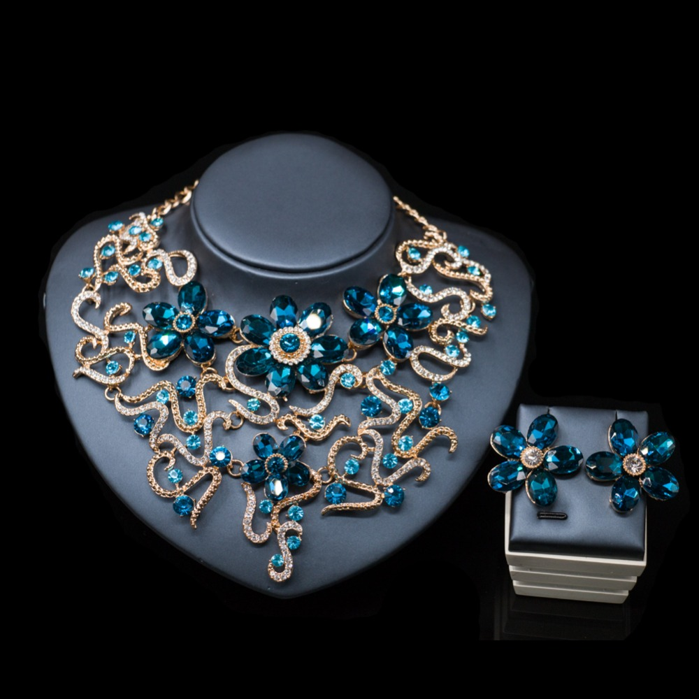 LAN PALACE new arrivals colorful necklace jewelry set gold color necklace and earrings for wedding free shipping