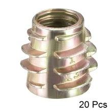 Uxcell New 20pcs/lot M8 M10 Threaded Insert Nuts Hex-Flush Zinc Alloy Furniture Nuts Hex Drive Inserts for Soft Wood Bronze Tone все цены