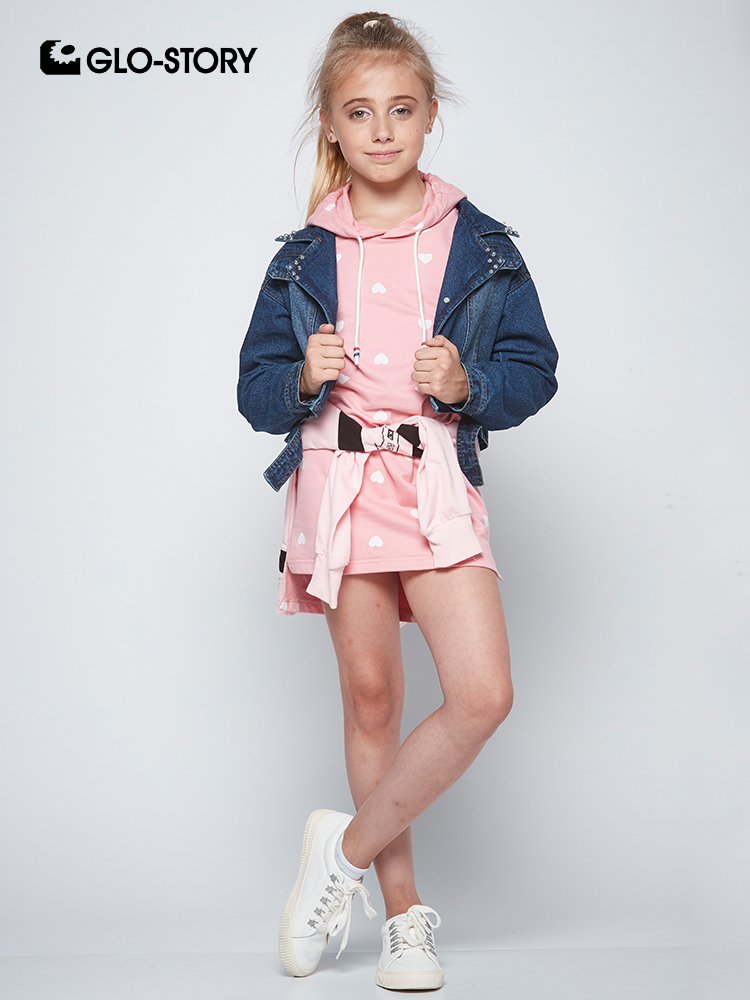 GLO-STORY Teenage Girls 2018 Denim Jackets with Knitted Hooded Dress Sets Kids Casual Streetwear Fashion Tracksuits GLT-7495 GLO-STORY Teenage Girls 2018 Denim Jackets with Knitted Hooded Dress Sets Kids Casual Streetwear Fashion Tracksuits GLT-7495