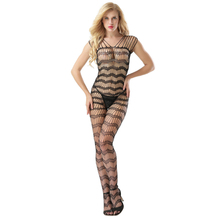 transparent Hollow out Wave pattern Large code Camisole open crotch body sexy costumes bodystocking catsuit crotchless suit