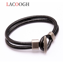 Lacoogh Simple hook double layer bracelet men and women hand leather for length 19.5cm new bangles femme