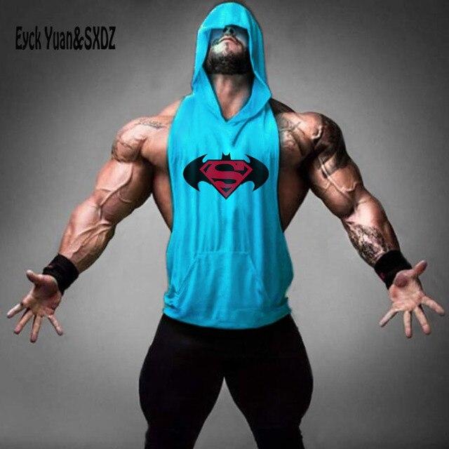 31b86a4a7a4f77 Superman Bat ZYZZ Golds Bodybuilding Stringer Hoodies Men Fitness Stringer  Hoodie Sleeveless Shirt Brand Tank Top Pullover