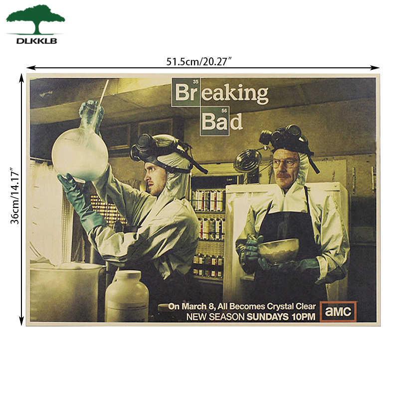 DLKKLB Breaking bad Wand Aufkleber Klassischen Amerikanischen Tv Serie Poster Retro Handwerk Papier Bar Cafe Poster 51,5 x36cm Hause Dekoration