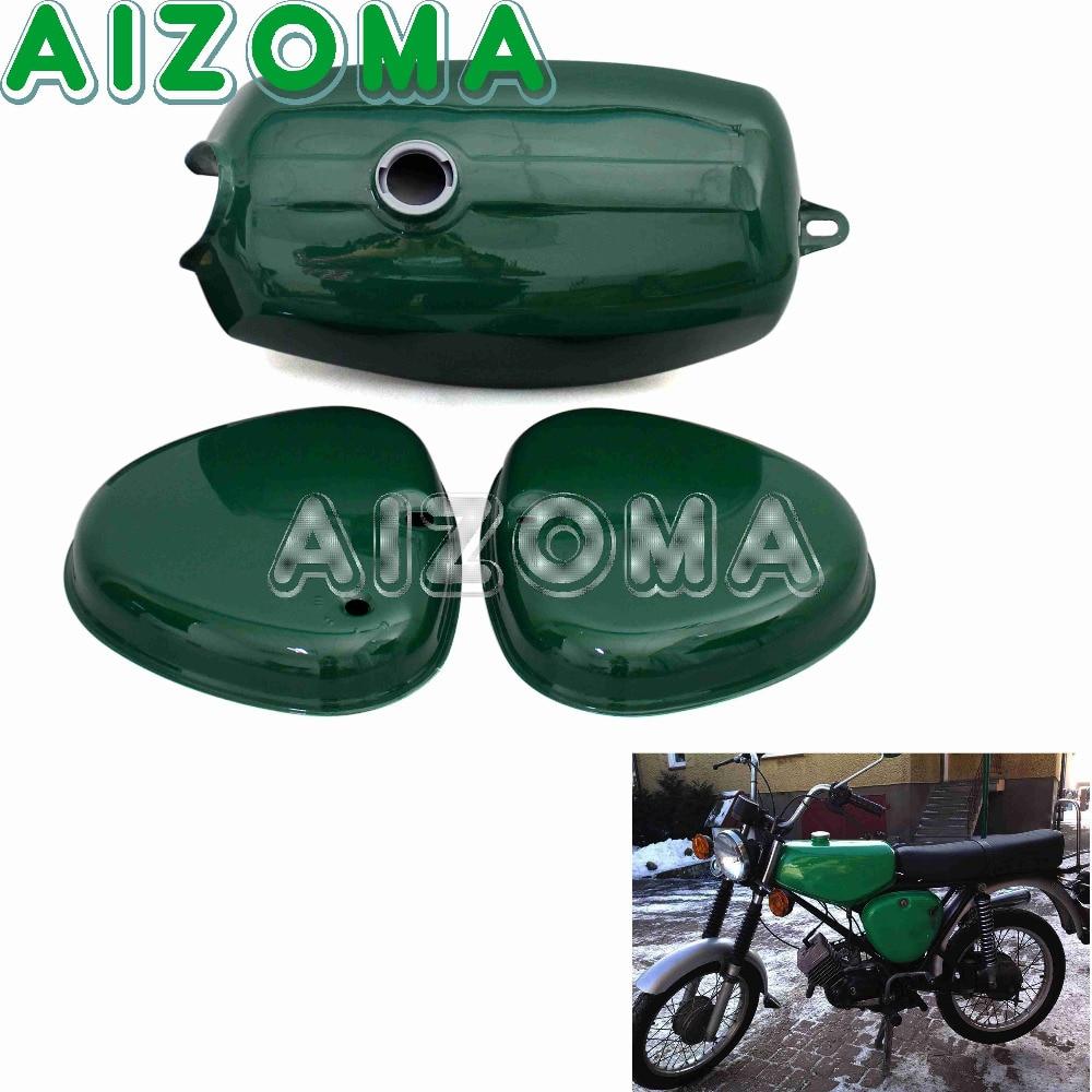 Verde Moto Banana Forma Personalizzata In Acciaio Del Serbatoio Del Carburante 191972 Gas Serbatoio Olio Con 2 Pz Copertura Laterale Per Simson S50 S51 S70 Caldo E Antivento