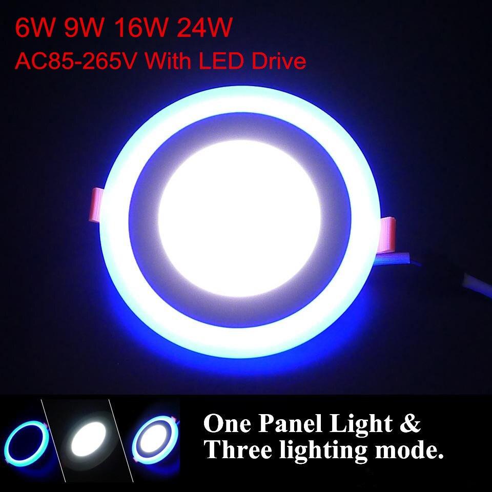 더블 컬러 led 패널 통 6 w 9 w 16 w 24 w 3 모델 led 램프 패널 빛 led 천장 recessed 스포트 라이트 ac110v 220 v + 드라이버