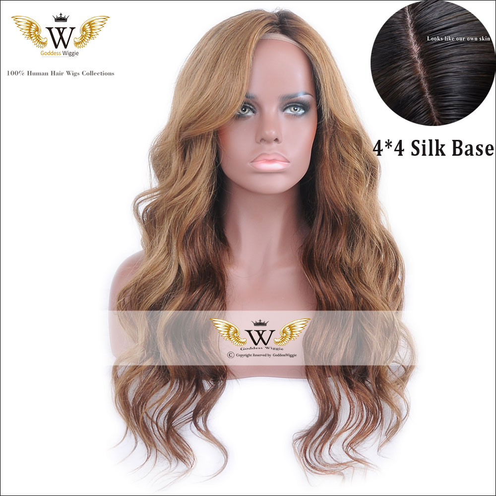 5A Glueless Silk Top Ombre Human Hair Lace Front Wigs Full Lace Blonde Human Hair Silk Base Wigs Body Wave Ombre Remi Blonde Wig