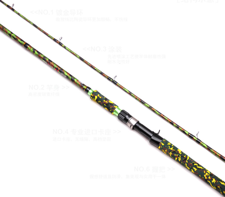 Camouflage Color 2.4m Casting Lure Rod Carbon M Hard Fishing Rod Fishing Gear Snakehead Fishing Rod For Black Fish Pesca Vissen camouflage color 2 4m casting lure rod carbon m hard fishing rod fishing gear snakehead fishing rod for black fish pesca vissen