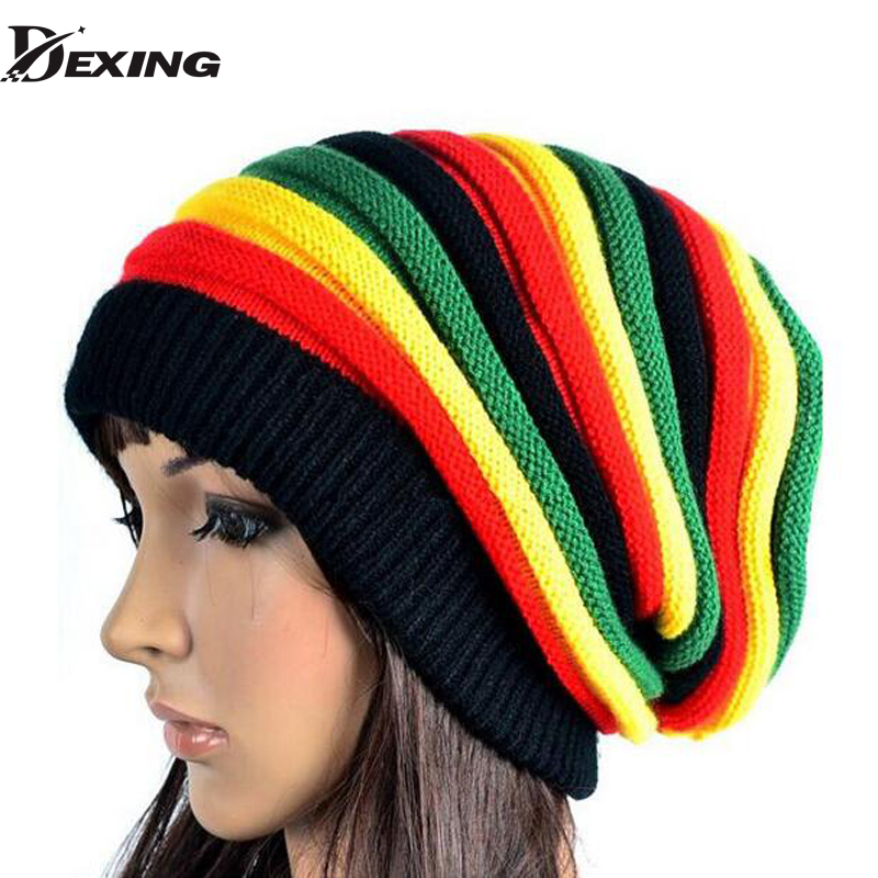 [Dexing]2017 new gorro reggae  unisex Gorro Slouchy Men's Women's Hats Cap Rasta Winter Hats For Women Men Beanie 2016 men women jamaican rasta hat dreadlocks wig marley caribbean fancy dress prop unisex knitted beanie hat handmade reggae cap