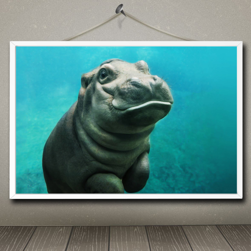 Cute Animals Series Art Silk Poster Print Hippopotamus
