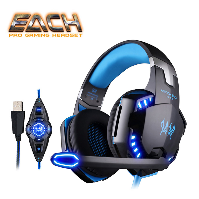 KOTION EACH G2200 Earphones With Mic Gaming Headphone For Computer USB 7.1 Surround Sound Vibration Headband Gaming Headphones
