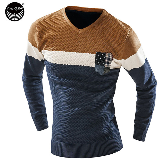 Male 2017 Men'S Fashion Mixed Colors Sweater Men Leisure Slim Pull Homme V-Neck Long-Sleeved Sweater Solid XXL KF
