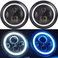 2X Wrangler LED Headlights 7 Inch Round White/Blue Halo Angle Eye Ring & DRL & Turn Signal Lights for Jeep JK TJ CJ Hummer H1 H2