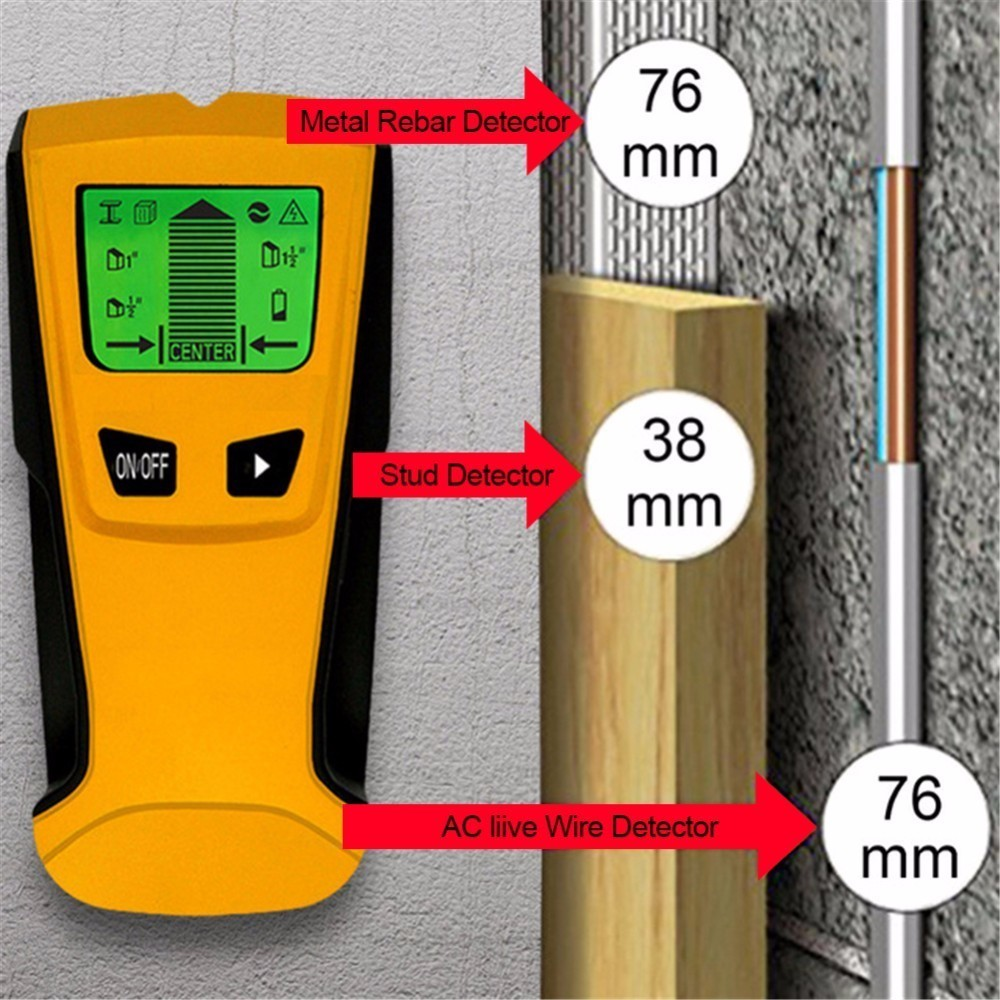 3 In 1 Metal Detectors Find Metal Wood Studs AC Voltage Live Wire Detect Wall Scanner Electric Box Finder Wall Detector uni t ut387b wall detector multifunctional handheld wall tester metal wood ac cable finder wall scanners
