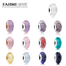 FAHMI Romantic 925 Sterling Silver Star Murano Starry Sky Series Glass Beads Fit Original Bracelet Charms For Jewelry Making Diy