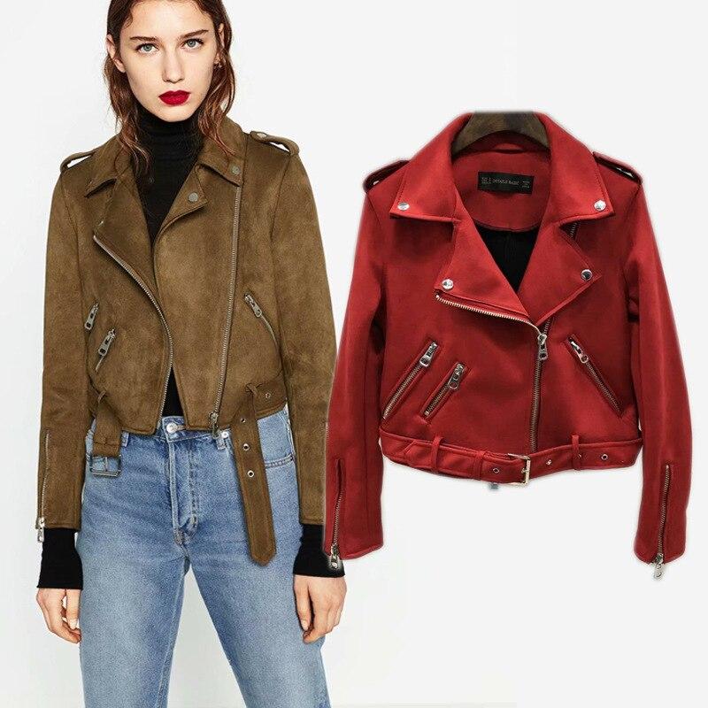 Station européenne slim veste en daim décorative zippée veste courte en cuir pour femme