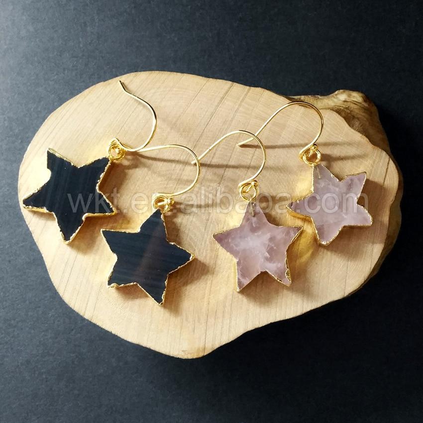 WT-E258 Designs Stone Star Shape Earrings Jewelry Natural Stone Rose Stone Earrings Black Star Shape Gold Earrings Wholesale