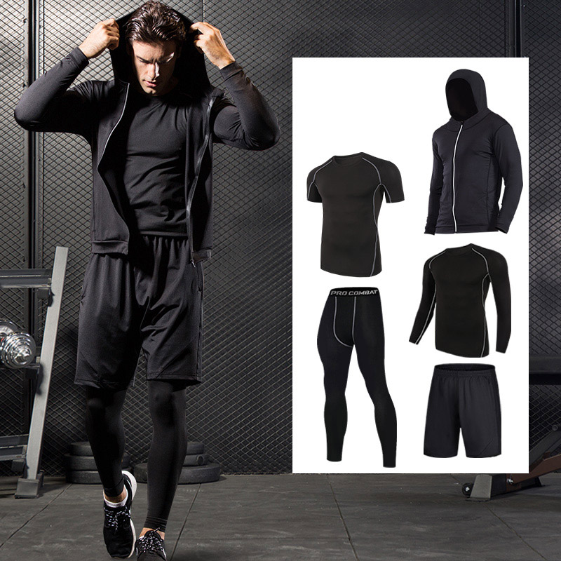 Quick Dry Sport Suits Men Compression Running Suits Breathable Basketball Training Sportwear Gym Warm Workout Fitness Clothing цена