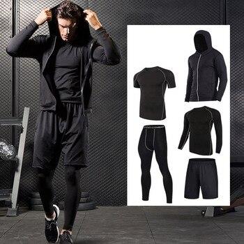 Séchage rapide Sport costumes hommes Compression course costumes respirant basket-ball entraînement Sportwear Gym chaud entraînement Fitness vêtements