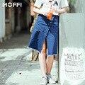 WFST Últimas Azul Midi Falda de Mezclilla Nuevo 2016 Verano Faldas Con Flecos Botones Jeans Vintage Delgado Jupe Femme Ropa Americana MF9010