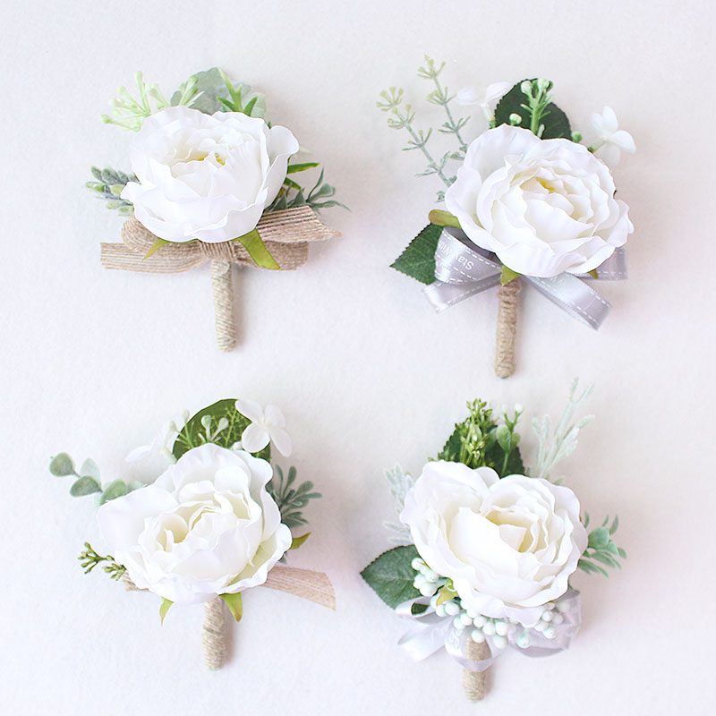 boutonniere prom wedding groom flower marriage corsages white pink roses  (7)