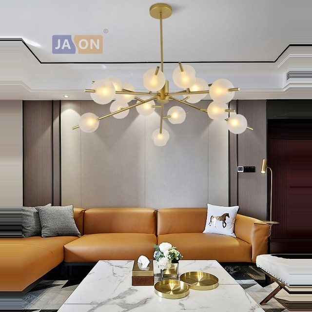 Lámpara De araña LED postmoderna hierro cristal dorado blanco Lamparas  Techo suspensión luminaria Lampen para comedor