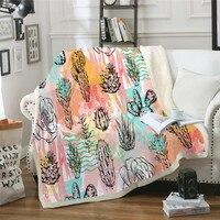 Fashion Fresh Plant Style Decorative Bedding Blankets Tropical Cactus Print Thicken Winter Warm Throw Blanket Microfiber Fabric