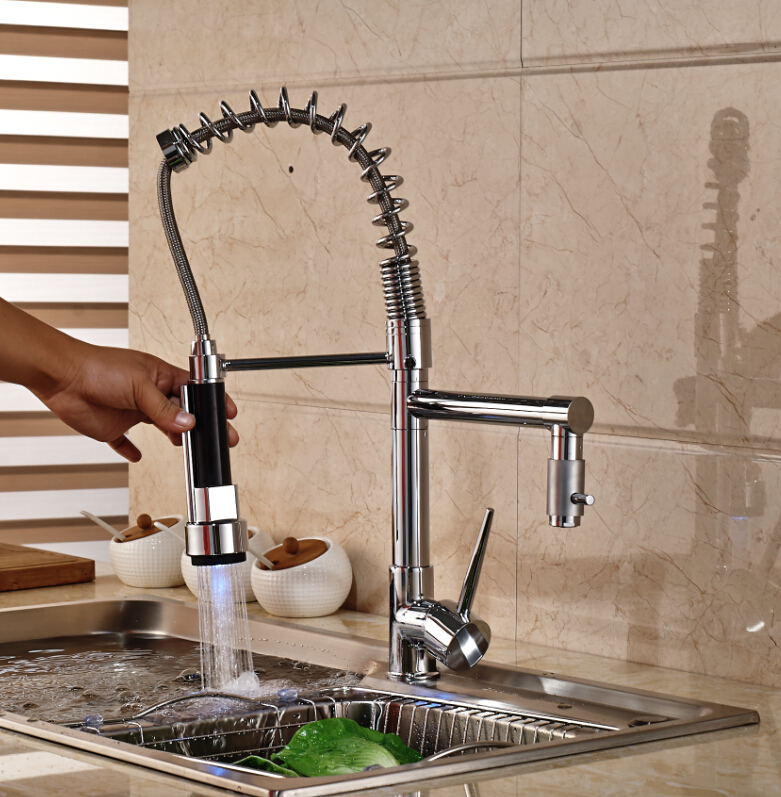 LED Spring Chrome Brass Kitchen Faucet Double Sprayers Vessel Sink Mixer Tap Deck Mounted chrome kitchen sink faucet solid brass spring two spouts deck mount kitchen mixer tap