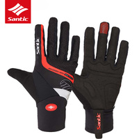 Santic Winter Cycling Gloves Gel Pads Windproof Full Finger Motorcycle Gloves MTB Mountain Road Bike Gloves