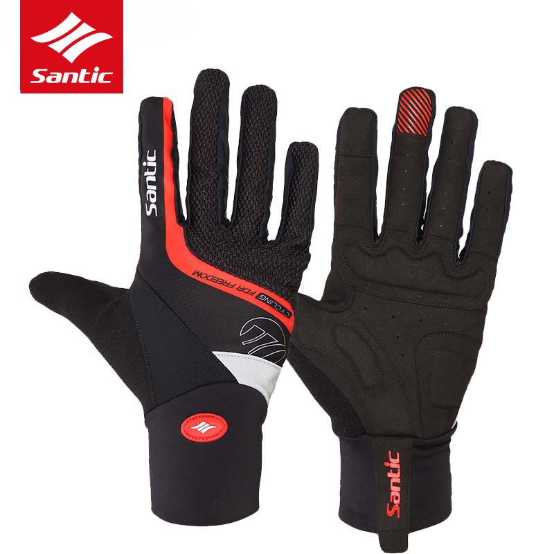 Santic Winter Cycling Gloves Gel Pads Windproof Full Finger Motorcycle Gloves MTB Mountain Road Bike Gloves Guantes Ciclismo